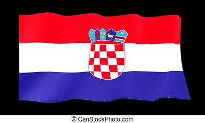 Croatian flag . Waving - Flag animation Useful for editors....