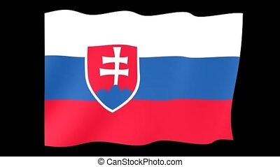 Slovakian flag . Waving