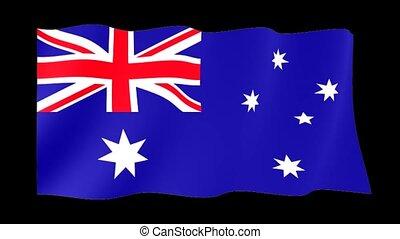 Australian flag . Waving. - Flag animation for using in...