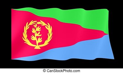 Eritrean flag. Waving. - Flag animation for using in foto's...