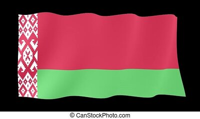 Belarusian flag (White Rusia) . Waving PNG. - Flag animation...