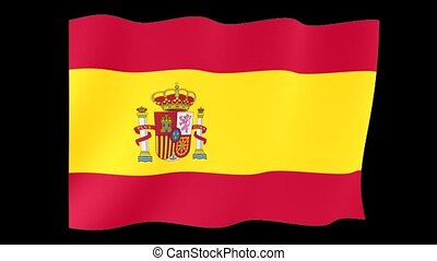 Spanish flag . Waving - Flag animation for using in foto's...