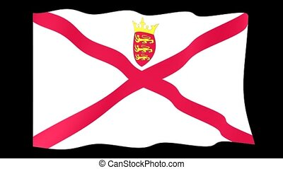 Flag of Jersey. Waving flag computer animatie. - Flag...