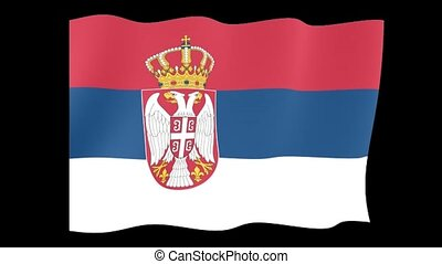 Serbian flag . Waving - Flag animation for using in foto's...