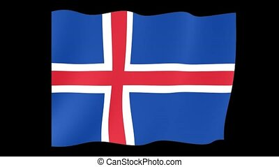 Icelander flag . Waving. - Flag animation for using in...