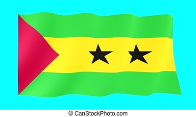Sao-Tome-and-Principe-flag . Waving - Flag animation...