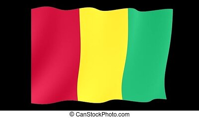 Guinean flag . Waving - Flag animation Background deleted...