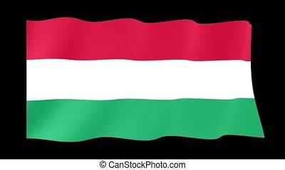 Hungarian flag . Waving - Flag animation Useful for editors....
