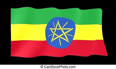 Ethiopian flag. Waving . - Flag animation for using in...