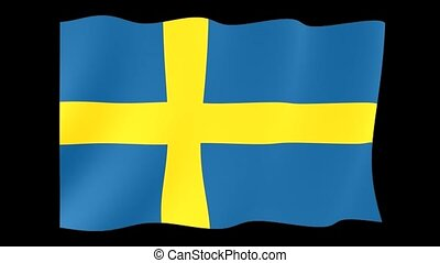 Swedish flag . Waving. - Flag animation for using in foto's...