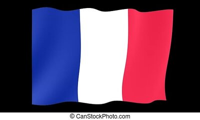 French flag . Waving. - Flag animation for using in foto's...