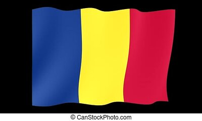 Romanian flag or Chad flag. Waving - Both the flags of...