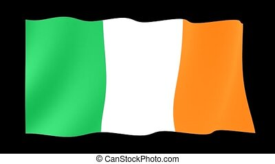 Irish flag . Waving - Flag animation Background deleted with...