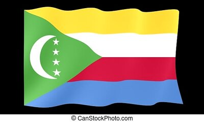 Comoras flag . Waving PNG. - Flag animation for using in...