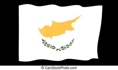 Cypriot flag . Waving. - Flag animation for using in foto's...