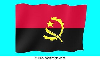 Angolan flag . Waving. - Flag animation for using in foto's...