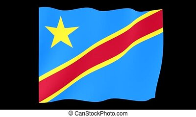 Flag of Congo Kinshasa. Waving flag