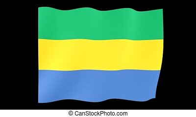 Gabonese flag . Waving . - Flag animation for using in...