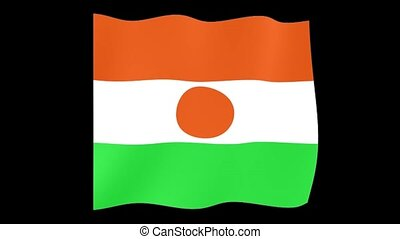 Nigerien flag . Waving . - Flag animation for using in...