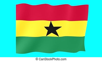 Ghanaian flag . Waving - Flag animation Background deleted...