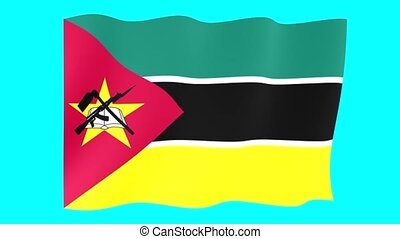 Mozambican flag . Waving. - Flag animation for using in...