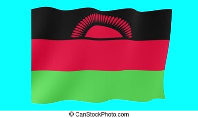 Malawian flag . Waving - Flag animation for using in foto's...