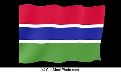 Gambian flag. Waving - Flag animation Useful for editors....