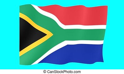 South African flag .  Waving.