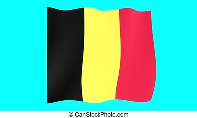 Belgian flag. Waving. - Flag animation for using in foto's...