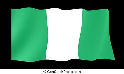 Nigerian flag .  Waving