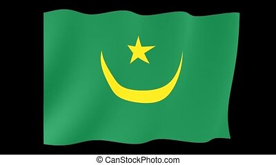Mauritanian flag . Waving. - Flag animation for using in...
