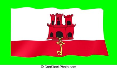 Flag of Gibraltar. Waving flag - Flag animation for using in...
