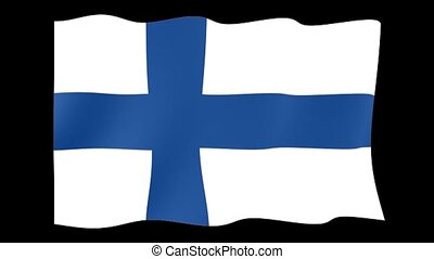 Finnish flag . Waving - Flag animation Background deleted...