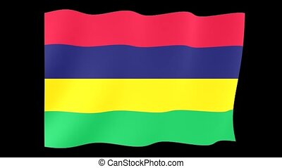 Mauritian flag .  Waving