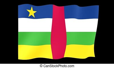 Central African flag . Waving. - Flag animation for using in...