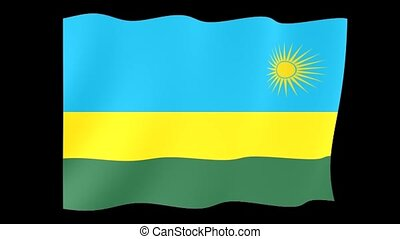Rwandan flag . Waving . - Flag animation for using in foto's...