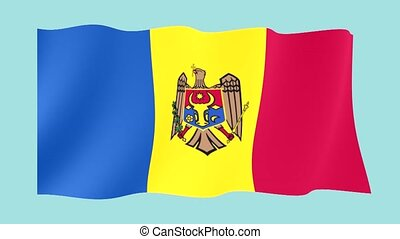 Moldovan flag . Waving - Flag animation for using in foto's...