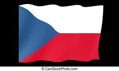 Czech flag .  Waving