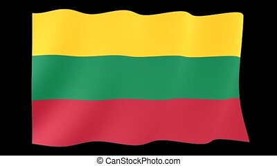 Lithuanian flag . Waving. - Flag animation for using in...