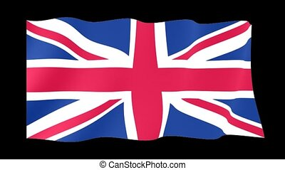 British flag .  Waving