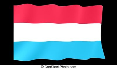 Luxembourger flag . Waving - Flag animation for using in...