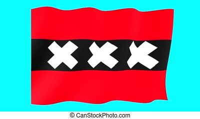Flag of Amsterdam (Holland). Waving - Flag animation for...