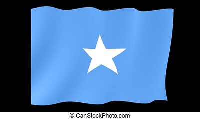 Somali flag . Waving . - Flag animation for using in foto's...
