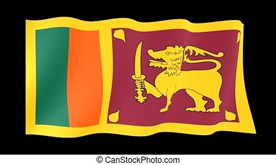 Sri Lankan flag . Waving