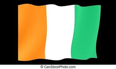 Ivory Coast flag . Waving - Flag animation Useful for...