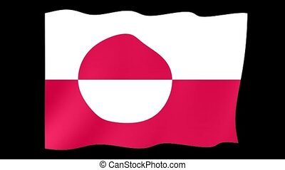 Flag of Greenland. Waving flag - Flag animation Background...