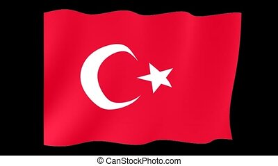 Turkish flag . Waving - Flag animation Useful for editors....