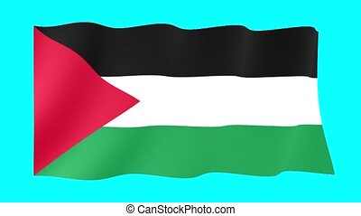 Palestinian flag . Waving - Flag animation Background...