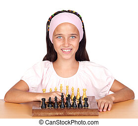 Little girl playing chess isolated on white background