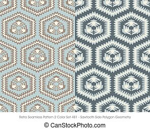 Retro Seamless Pattern Sawtooth Side Polygon Geometry